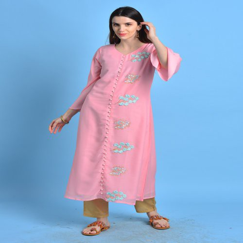 Imarti- Dusty Pink Kurta With Embroidered Details.