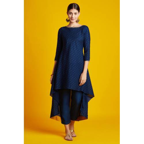 Swara- Navy Blue Foil Printed Long Kurti With 3/4th Sleeves & Staright Pant