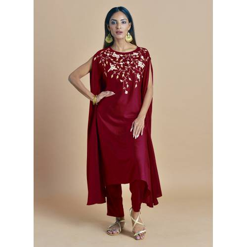 Rajasi - Ruby Red Kaftan With  Zari Embroidery Paired With Straight Pants