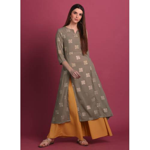 Mud Grey Rubber Foil Print Kurti Paired With Yellow Kalidar Palazzo. Note : Do Not Iron On Print