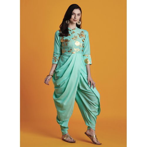 Akriti- Pastel Aqua Foil Printed Cowl Kurta Paired With Chic Dhoti Pants