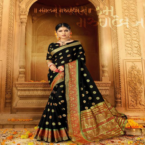 71411b4d7a47ff Buy Craftsvilla Black Silk Traditional Woven Saree With Unstitched Blouse  Piece Online