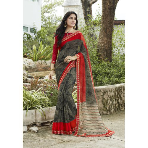 Craftsvilla Black Net Designer Lace Work Saree With Unstitched Blouse Piece