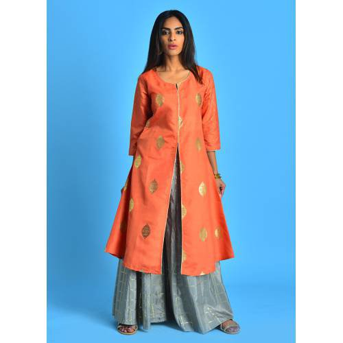Gold Souk - Chic Coral Front Open Kalidar Kurti With Palazzo