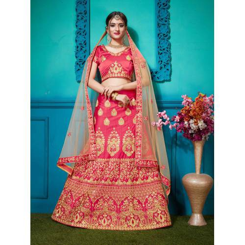 Craftsvilla Pink Satin Embroidered Designer Semi Stitched Lehenga Choli