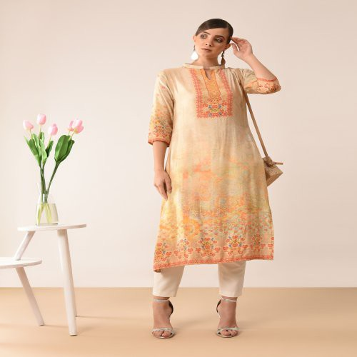 Craftsvilla Beige Viscose Printed Knee Length Straight Kurti