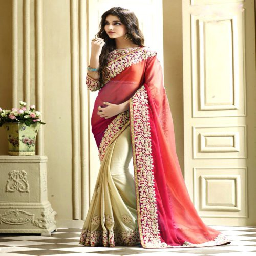 33733b561 Buy Ranipink Padding And Cream Georgette Party Wear Saree With Artsilk  Blouse Online