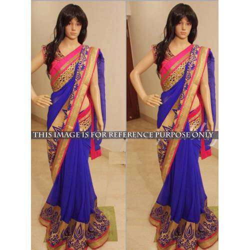 4e3ff1a267fd46 Buy Latest Royal Blue Saree With Pink Border Online