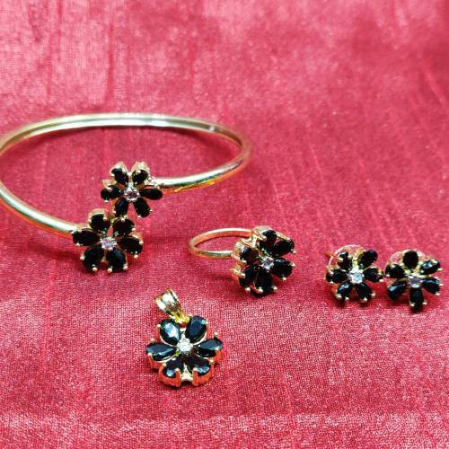 Craftsvilla Black Colour American Diamond Combo Of Pendant With Earrings, Bracelet And Ring