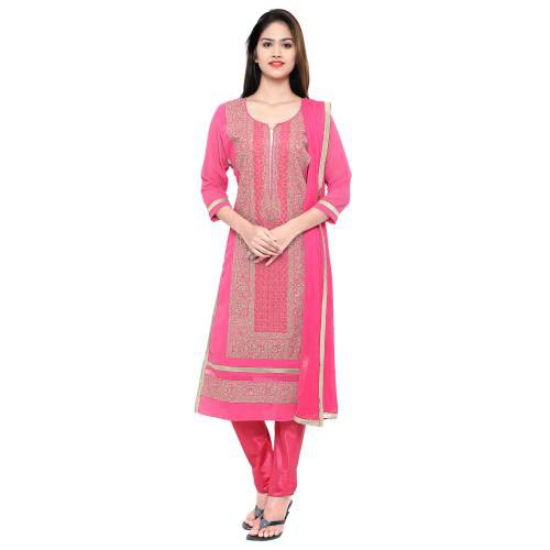 Craftsvilla Pink Georgette Unstitched Embroidered Party Wear Dress Material