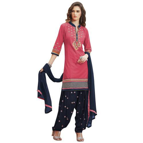 Craftsvilla Pink & Blue Pure Cotton Embroiderd Patiala Un-stitched Dress Material