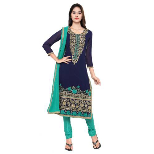 Craftsvilla Blue And  Green Georgette Unstitched Embroidered Party Wear Dress Material