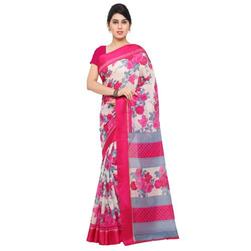 Craftsvilla Pink & White Cotton Satin Patti  Party Wear Saree
