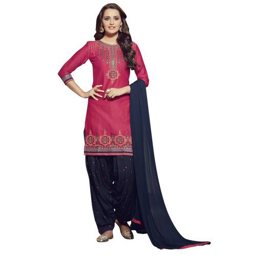 Craftsvilla Pink And Blue Color Cotton Cambricembroiderd Patiala Un-stitched Dress Material
