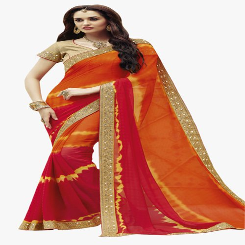 Craftsvilla Bandhani Red And Orange Georgette Saree