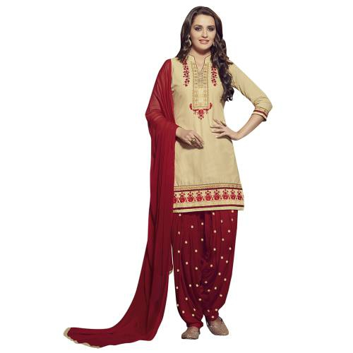 Craftsvilla Beige And Red Color Cotton Cambric Embroidered Un-stitched Patiala Dress Material
