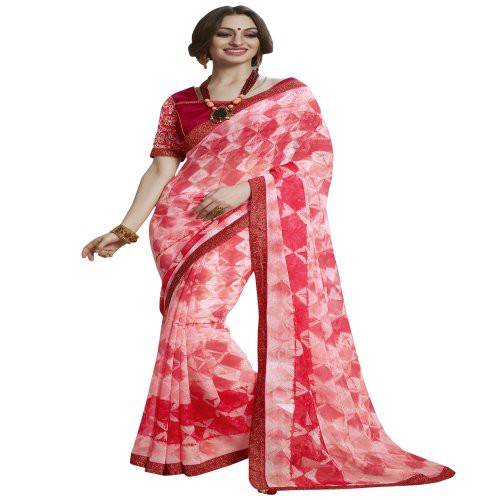 Craftsvilla Pink Faux Georgette Saree