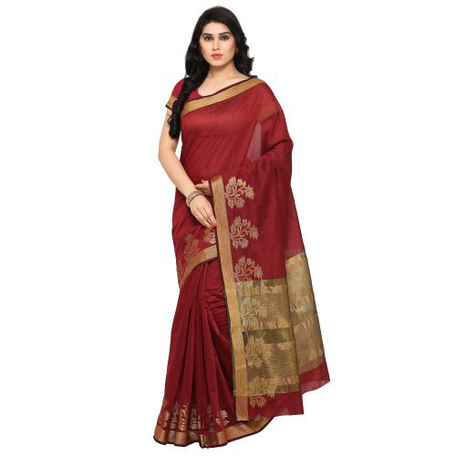 Craftsvilla Cotton Maroon, Party Wear  Self Jaquard Border Saree With Same Color Cotton Blouse