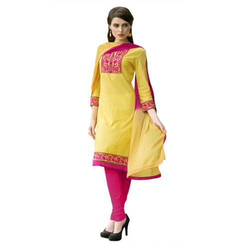 Craftsvilla Yellow & Pink Casual Un-stitched Cotton Dress Material
