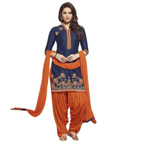 Craftsvilla Blue And Orange Color Cotton Cambric Embroiderd Patiala Un-stitched Dress Material