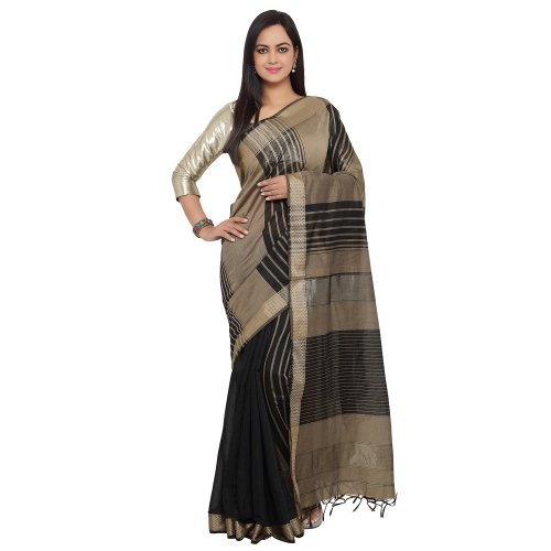 Craftsvilla Attractive & Stylish Beige & Black Cotton Silk Printed Party Wear Saree