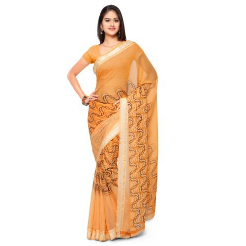 Craftsvilla Orange Weaving Georgette Printed Party Wear Saree