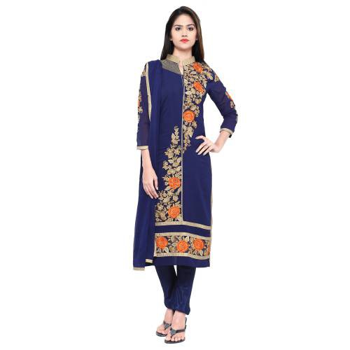 Craftsvilla Blue Georgette Unstitched Embroidered Party Wear Dress Material