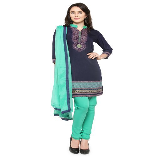 Craftsvilla Navy Blue And Green Crepe Printed Dress Material