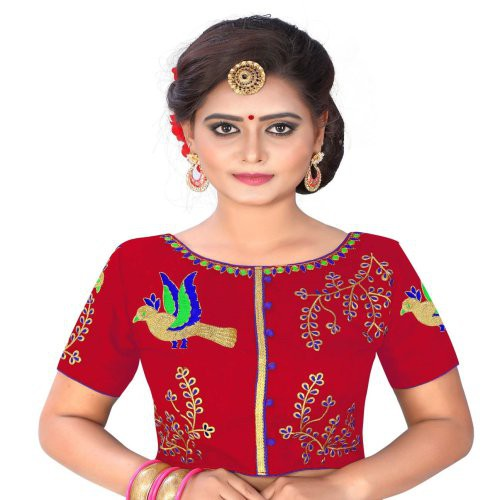 3cd48b2500540 Shreeji Designer Women  s Banglori Silk Boat Neck Embroidery Work Red Color  Free Size