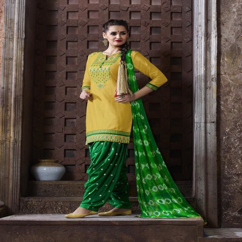 c2fbf9d9cdd Shoponbit Yellow And Green Colour Cotton Embroidered Party Wear Semi  Stitched Patiala Suit