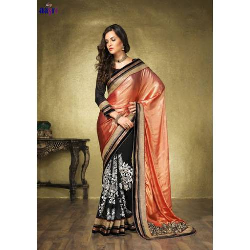 e115280ee6d Buy Wedding Wear Designer Embroidered Heavy Work Saree With Blouse Piece  Online