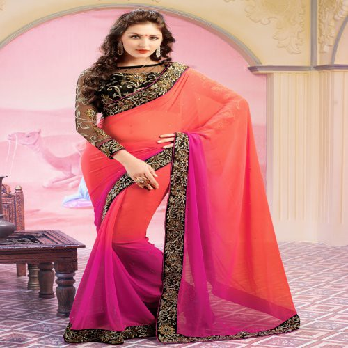 ea8938e826 Buy Orange And Pink Embroidered Saree With Black Blouse Piece Online |  Craftsvilla