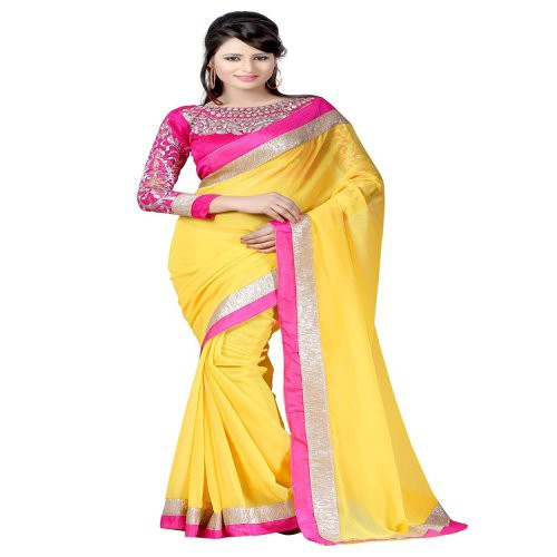 9af5ec1e2bd388 Buy Anjali Fashion Designer Yellow Color Chiffon Embroidered Saree Online