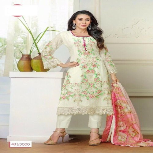 ee563d97ed90 Diya Online White Colour Embrodery Semi Stiched Pure Georgette Dress  Material 102