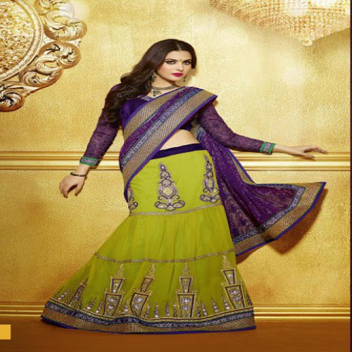 f018e8d76bb1af Designer Saree With Blouse Light Green And Violet Colour Net Jacquard With  Georgette Embroidery Lehenga Saree