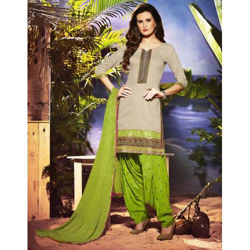 Craftsvilla Grey Pure Chanderi Embroiderd Patiala Dress Material