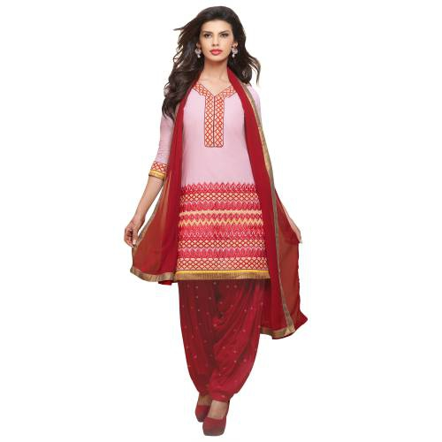Craftsvilla Pink Pure Cotton  Salwar Suit  With  Embroidered