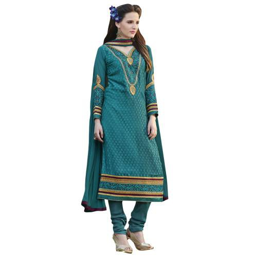 Craftsvilla Teal Georgette Brasso Embroiderd Semi-stitched Dress Material