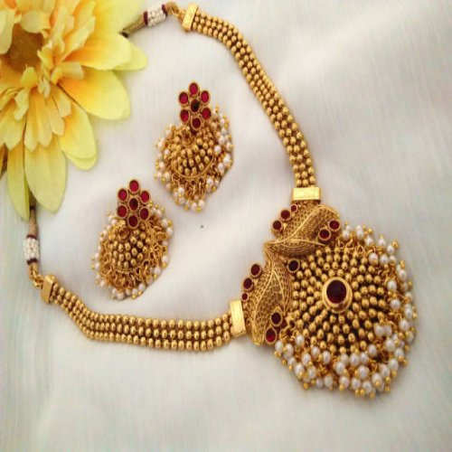 Necklace Set Kemp Stones & Small Pearls With Earrings- Temple Jewellery
