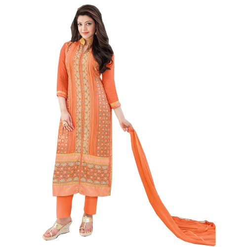 8c98db7635 Buy Kajal Agrawal Orange Color Faux Georgette Fabric Semi Stitched Designer  Straight Salwar Kameez Online