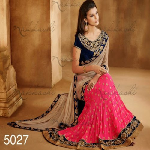 8b7a240ed6937 Half Georgette Chiffon   Georgette Lehenga Saree In Double Color With  Resham Embroidery