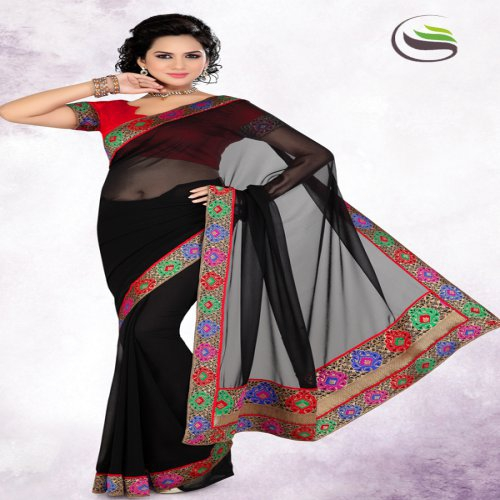 57731bf099cff Buy New Party Wear Black Color Faux Georgette Saree With Blouse - Online  Shopping For Designer Sarees By Saree Swarg Online