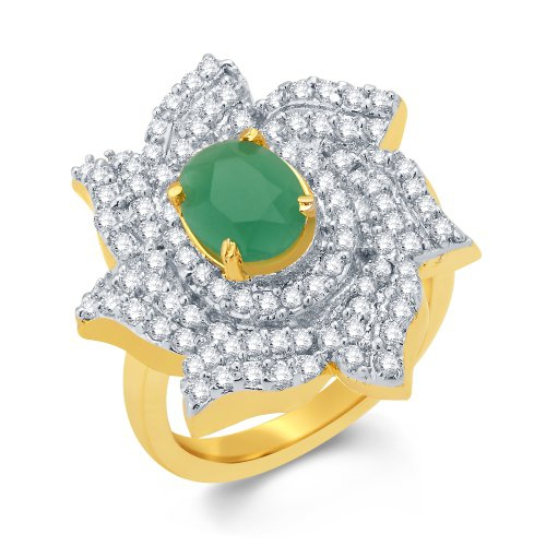 Craftsvilla Adorable Gold And Rhodium Plated Emerald Cz Ring