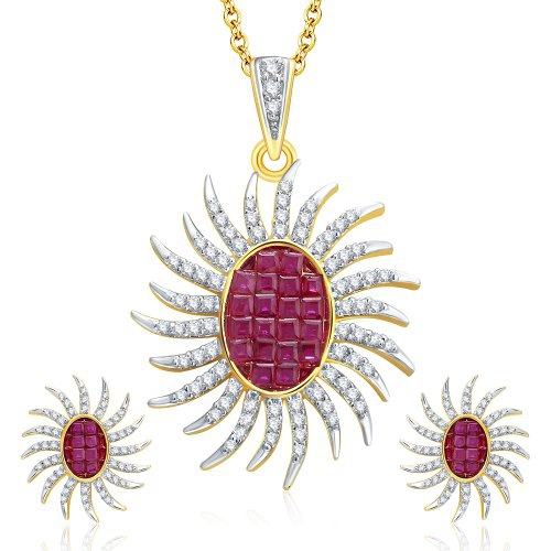 Craftsvilla Dangly Gold And Rhodium Plated Ruby Cz Pendant Set For Women