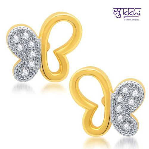 Craftsvilla Pretty Gold And Rhodium Plated Micro Pave Cz Earrings(181earsdpvts300)