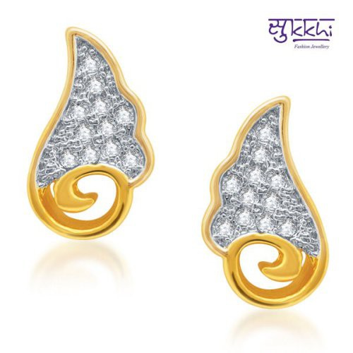Craftsvilla Pleasing Gold And Rhodium Plated Micro Pave Cz Earrings(182earsdpvts350)