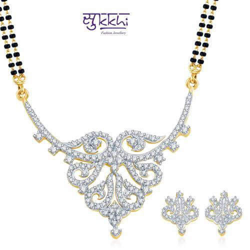 "Craftsvilla Dazzling And Glamorous Gold And Rhodium Plated Cz Mangal Sutra Set  (free Mala (18"" Or 24\""))"