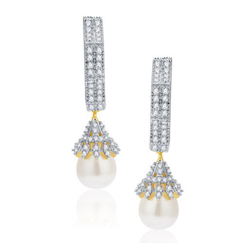 Craftsvilla Adorable Gold And Rhodium Plated Cz Earrings