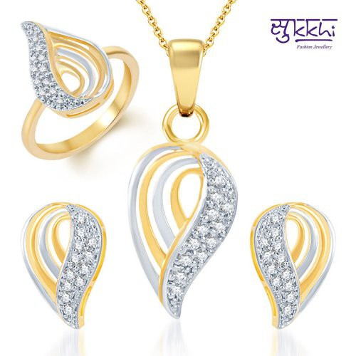 Craftsvilla Youthful Trendy Gold And Rhodium Plated Cz Pendant Set And Ring Combo (free Chain)