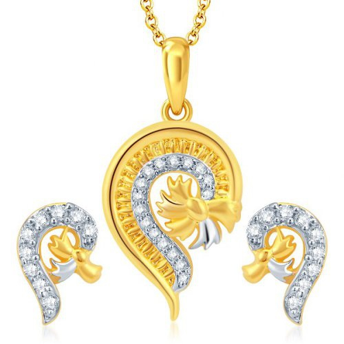 Craftsvilla Glistening Gold And Rhodium Plated Cz Pendant Set(4110psczr830)
